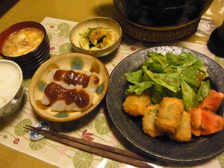 4鶏肉の梅じそ巻きフライ定食
