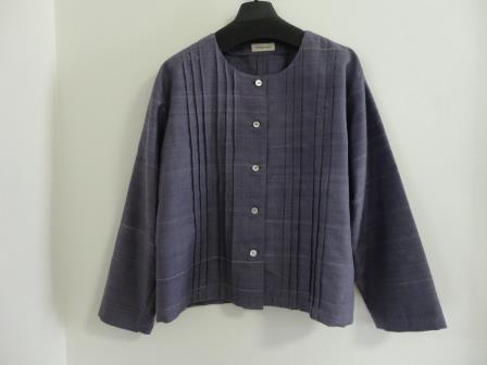 真綿紬のピンタックジャケット