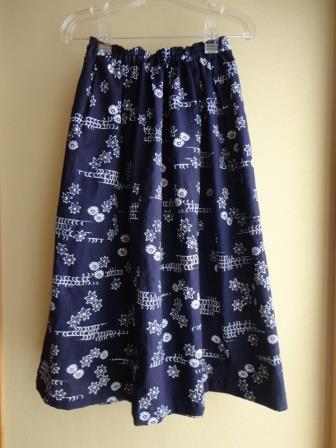 藍染浴衣ギャザータックスカート