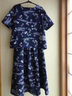 藍染浴衣ブラウス&スカート