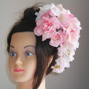7種類のピンクローズと桜の成人式髪飾り