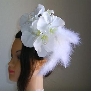 パールビーズ入り胡蝶蘭とファーのウエディング髪飾り