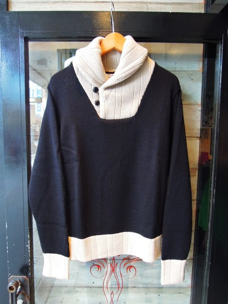 O.C CREW 2TONE SHAWL COLLAR KNIT