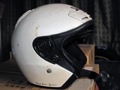 事故当時のヘルメット