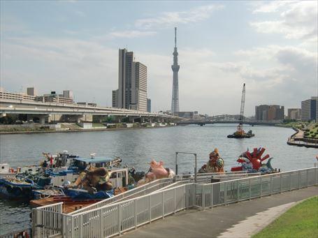 隅田川夕日見2013 水上パレードの準備