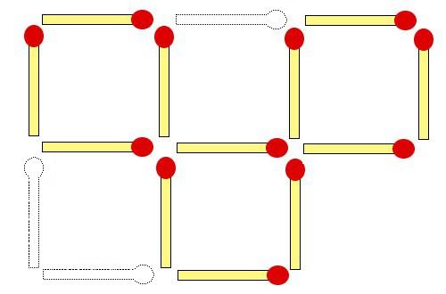 3本マッチを動かして正方形を3つ作ってみてください
