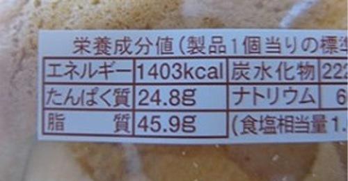 このパンのカロリー、牛丼大盛り2杯分以上