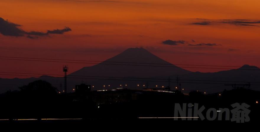 北川辺~富士山 夕焼けss