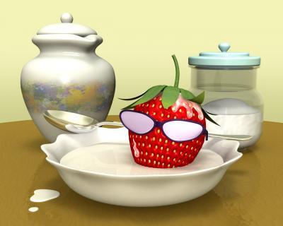 3Dキャラ苺野郎のミルク風呂