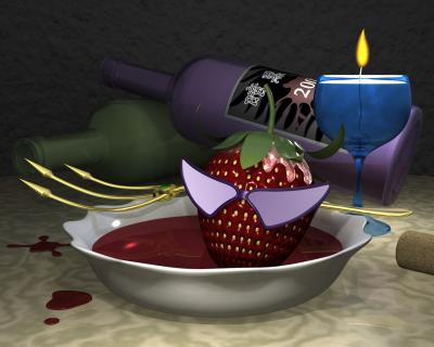 3Dキャラ暗黒苺野郎のワイン風呂