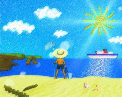 3DCG海は(色鉛筆風)