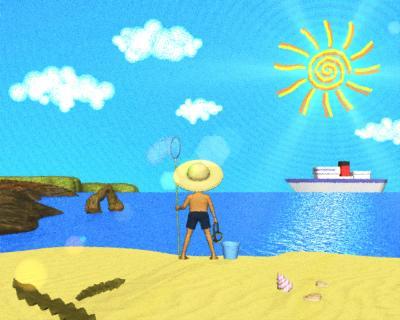 3DCG海は(パステル風)