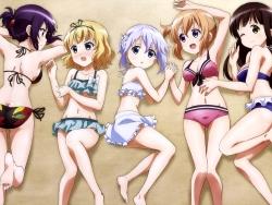 43_301090 ass bikini cleavage gochuumon_wa_usagi_desu_ka_ hoto_kokoa kafuu_chino kimiya_ryousuke kirima_sharo loli swimsuits tedeza_rize ujimatsu_chiya
