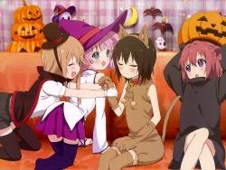 43_302181 animal_ears ass cosplay dress halloween nekomimi tagme tail thighhighs witch yuru_yuri