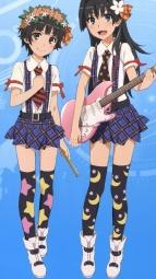 5267116 guitar saten_ruiko tanaka_yuuichi thighhighs to_aru_kagaku_no_railgun to_aru_majutsu_no_index uiharu_kazari