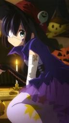 i271396 animal_ears chuunibyou_demo_koi_ga_shitai! dekomori_sanae eyepatch halloween nekomimi tail takanashi_rikka thighhighs witch