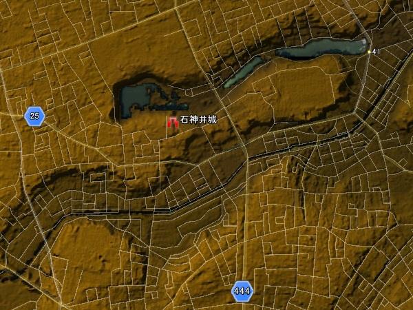 石神井城標高図