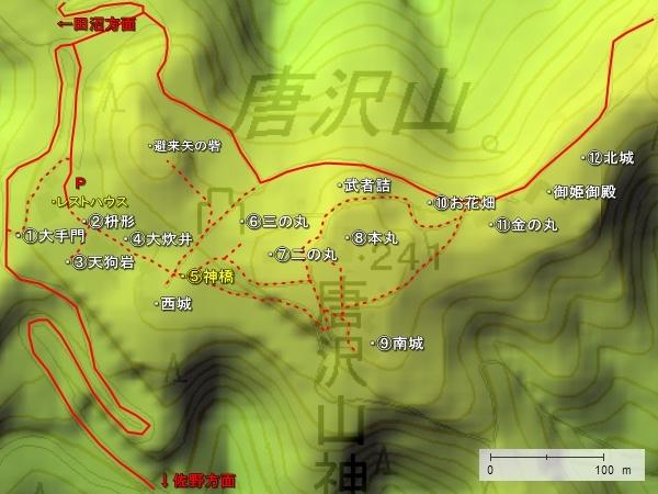 唐沢山城地形2