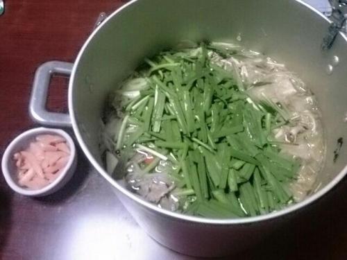 牛ホルモンと豚肉鍋