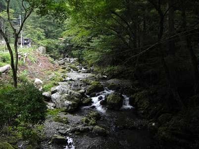キャンプ場付近の谷川