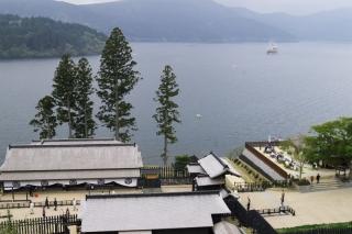 旧東海道:箱根関所遠見番所跡より芦ノ湖遠望