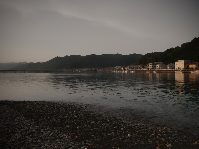 古座川河口の夕景