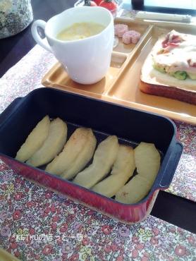 トースターパンで焼きりんご