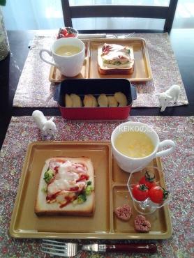 ブロッコリーサラダトースト&焼きりんご☆嬉しいコト♪3