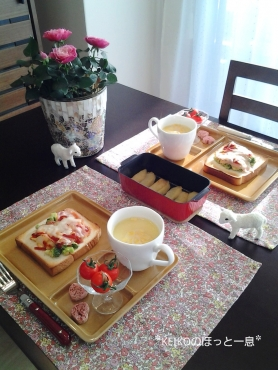 ブロッコリーサラダトースト&焼きりんご☆嬉しいコト♪4