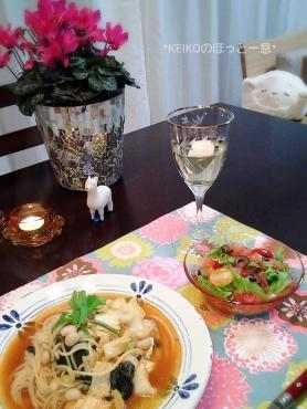 スープパスタ&ピンクグレープフルーツのサラダ2