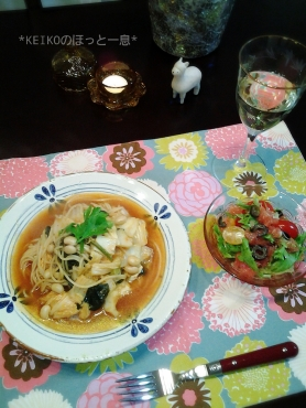 スープパスタ&ピンクグレープフルーツのサラダ3
