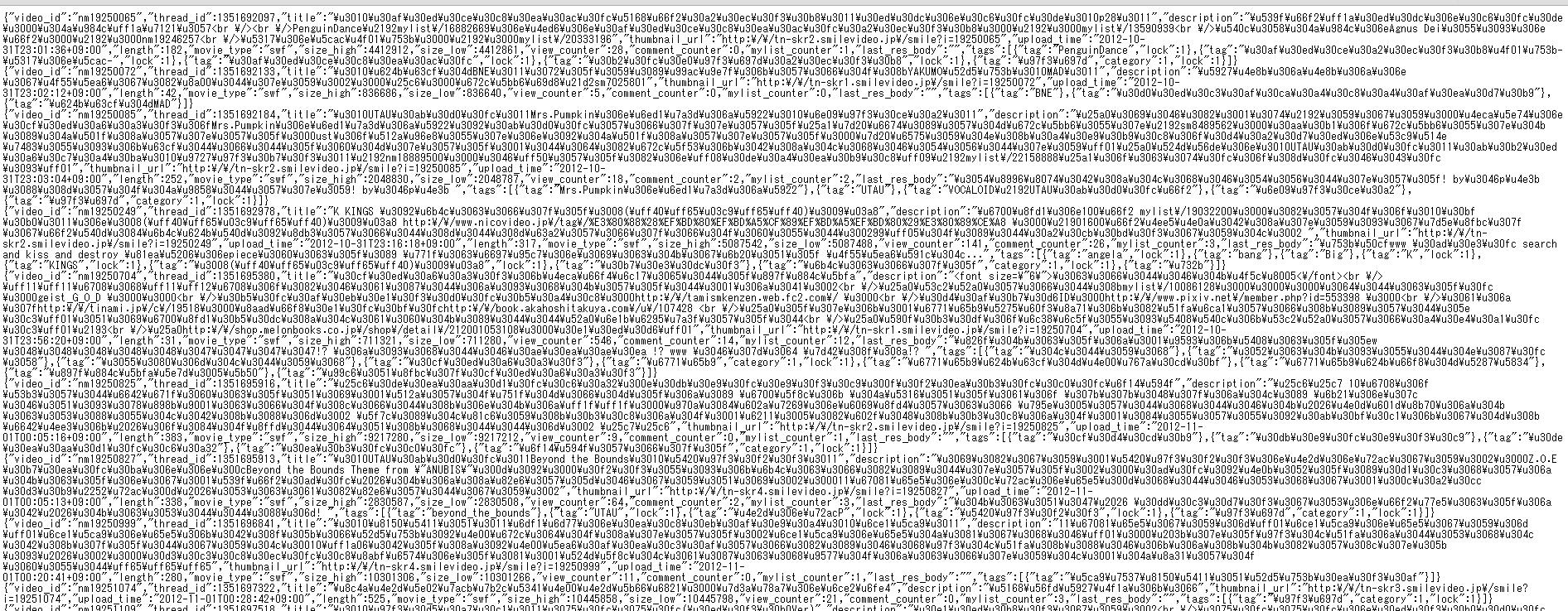 ニコニコデータセット json
