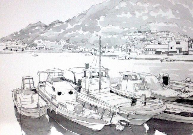 鞆の浦の波止場1 グリサイユ (650x454)
