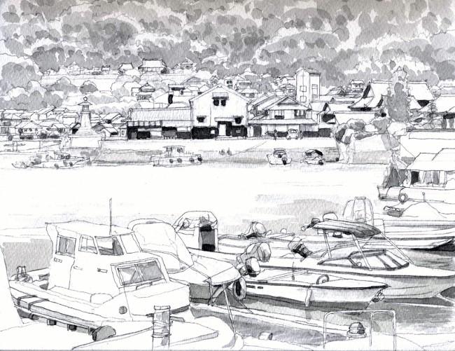 鞆の浦の波止場2モノクロ (650x501)