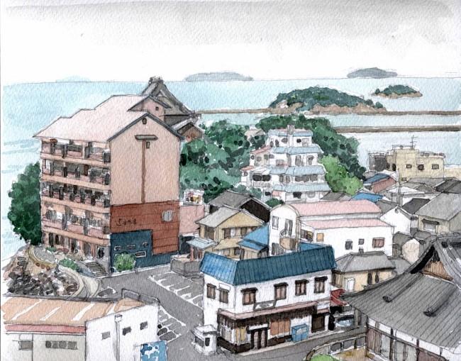 鞆の浦 ホテルの窓から (650x509)