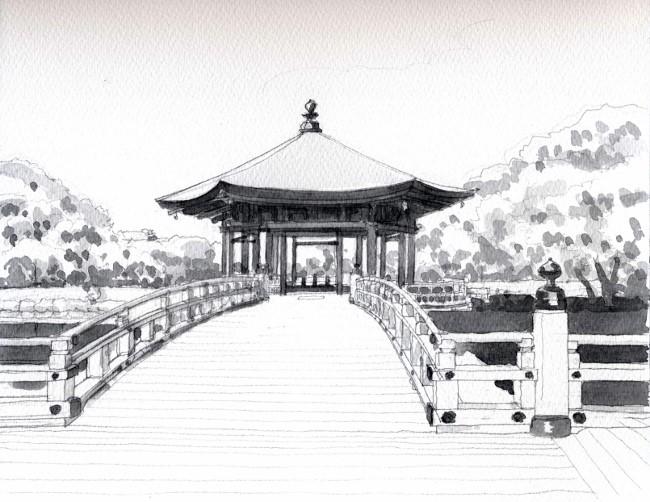 奈良の浮見堂 グリサイユ (650x502)