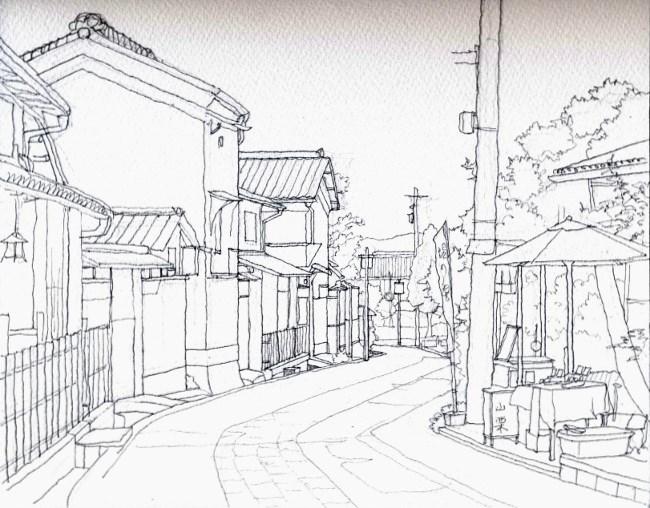 嵯峨野の道1 デッサン (650x508)