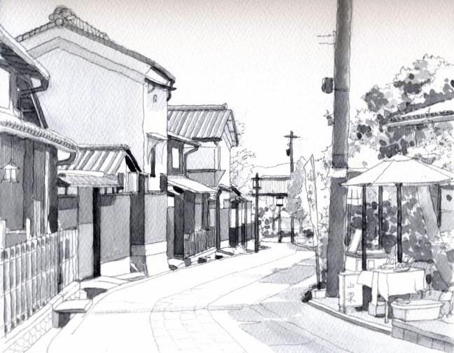 嵯峨野の道1 モノクロ (650x505)