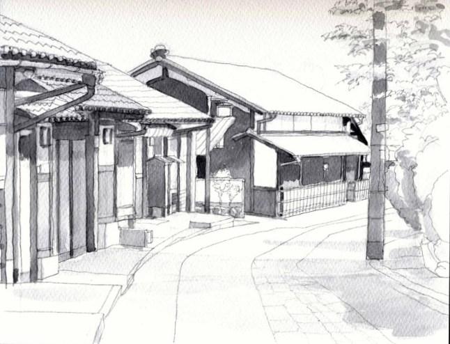嵯峨野の道2 モノクロ (650x500)