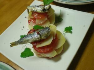 オイルサーデン・ジャガイモ・トマト