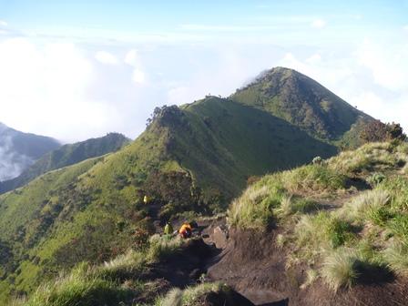 15 山頂から登ってきた稜線を見る