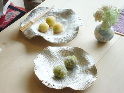 菓子器 ハスの葉