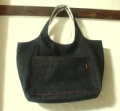 デニム生地の持ち手一体型バッグ
