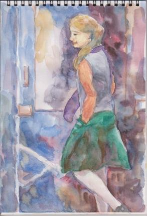 ドアの前の少女