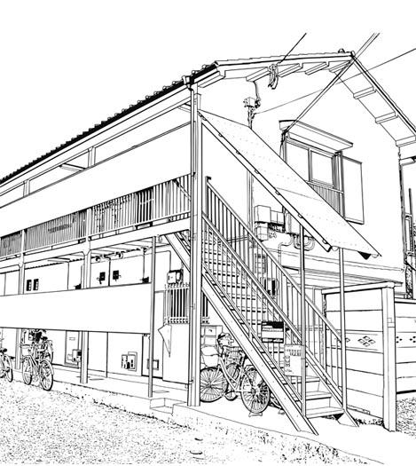 漫画背景・アパート004・線画
