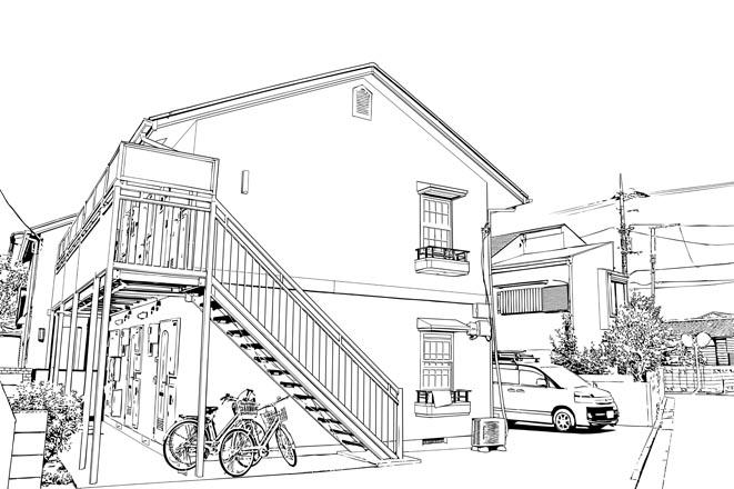 漫画背景・アパート0002