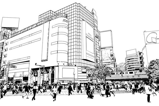 漫画背景・渋谷002