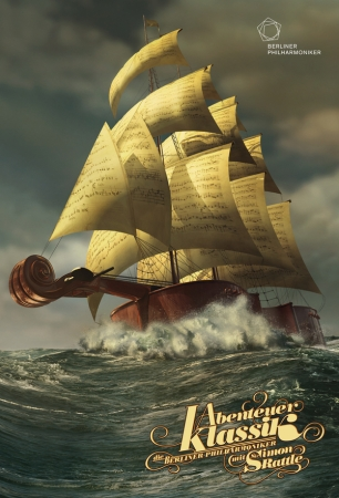 楽譜とバイオリンの船