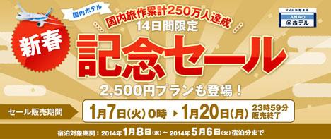 ANA 旅作250万人達成記念セール!2,500円のプランも。その第二弾は明日1月15日(火)12:00~!