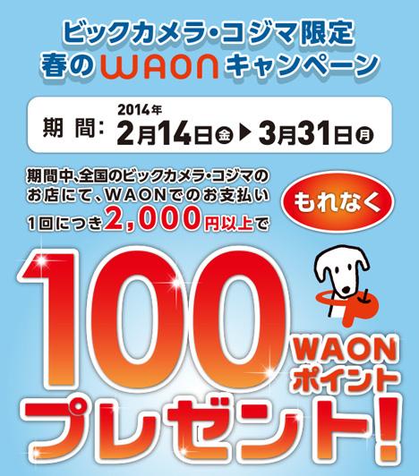 2,000円の支払いで100WAONポイントもらえるビックカメラ・コジマ限定 春のWAONキャンペーンにはとんだ落とし穴が!!